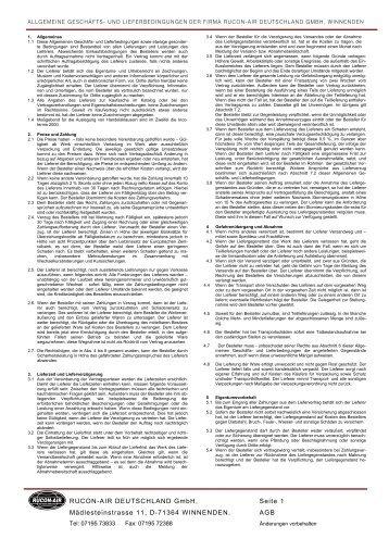 Allgemeine Geschäftsbedingungen - RUCON-AIR Deutschland GmbH