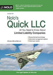 Nolo s Quick LLC: All You Need to Know about Limited Liability Companies (Quick   Legal)
