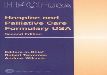 Hospice and Palliative Care Formulary USA