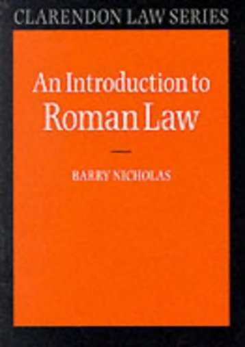 An Introduction to Roman Law (Clarendon Law Series)