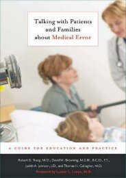 Talking with Patients and Families about Medical Error: A Guide for Education and Practice