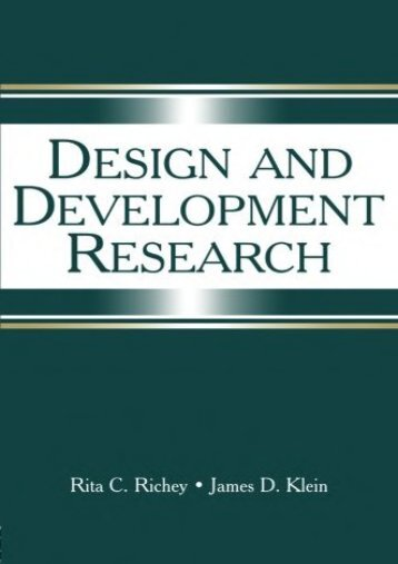Design and Development Research: Methods, Strategies, and Issues