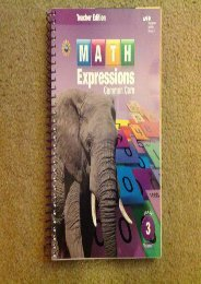 Math Expressions, Grade 3, Vol.1 (Teacher s Edition)