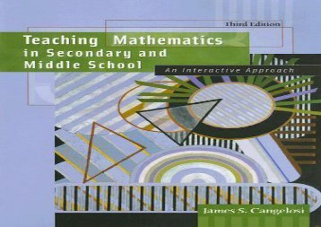 Teaching Mathematics in Secondary and Middle School: An Interactive Approach