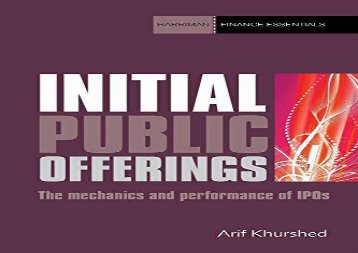 Initial Public Offerings: The mechanics and performance of IPOs (Harriman Finance Essentials)