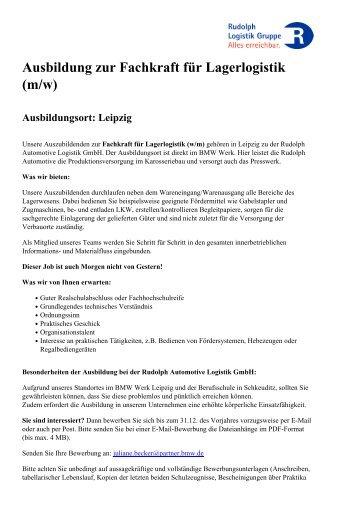 Ausbildung zur Fachkraft für Lagerlogistik (m/w) - Rudolph Logistik ...