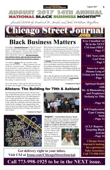 Celebrating National Black Business Month. Chicago Street Journal (CSJ) August 11, 2017.
