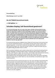 Schulden-Doping: Soll Deutschland gewinnen? - rheingold salon