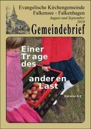Unsere Konfirmanden 2010 - Ev. Kirchengemeinde Falkensee ...