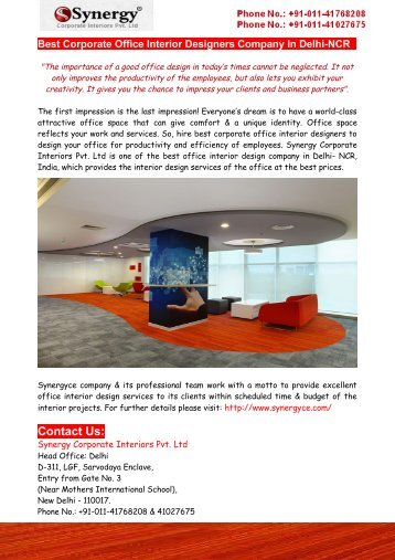 Best Corporate Office Interior Designers Company In Delhi-NCR