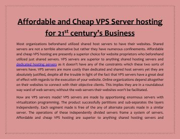 Affordable and Cheap VPS Server hosting for 21st century's Business