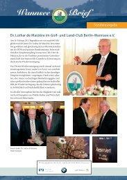 Wannsee Brief - Der Golf- und Land-Club Berlin-Wannsee eV