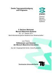 Mensch-Maschine-Systeme Reflexionen und Visionen - TU Berlin