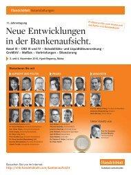 Neue Entwicklungen in der Bankenaufsicht.