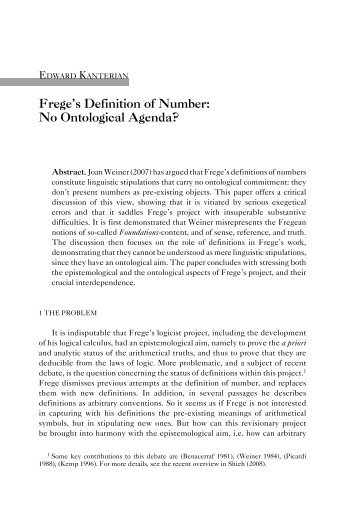 Frege's Definition of Number: No Ontological Agenda?
