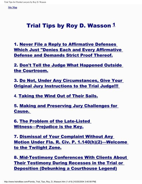 Trial Tips For Florida Lawyers By Roy D Wasson The Heindl