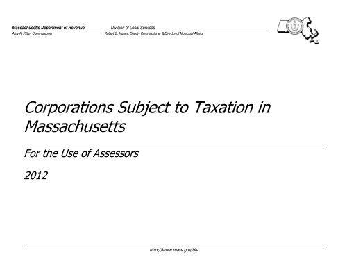 Corporations Subject to Taxation in Massachusetts - Mass Gov