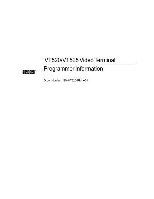 VT520/VT525 Video Terminal Programmer Information - MIT
