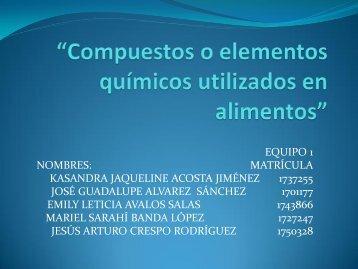 compuestos o elementos quimicos utilizados en alimentos