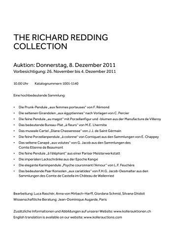 THE RICHARD REDDING  COLLECTION - Koller Auktionen