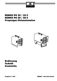 Bedienung Technik Ersatzteile REMKO PG 25 / 25 E REMKO PG 50 ...