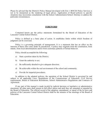 Board of Education Policy Manual - Lancaster Central School District