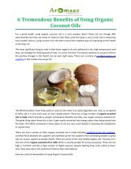 6 Tremendous Benefits of Using Organic Coconut Oils