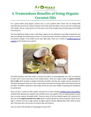 6 Tremendous Benefits of Using Organic Coconut Oils