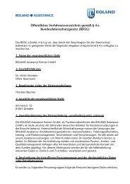 Öffentliches Verfahrensverzeichnis ROLAND Assistance Partner ...