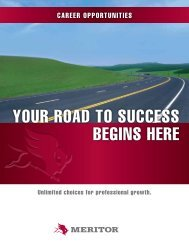 YOUR ROad TO SUCCESS bEgInS HERE - Meritor