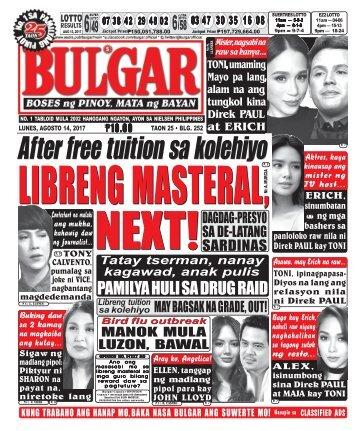 AUGUST 14, 2017 BULGAR: BOSES NG PINOY, MATA NG BAYAN
