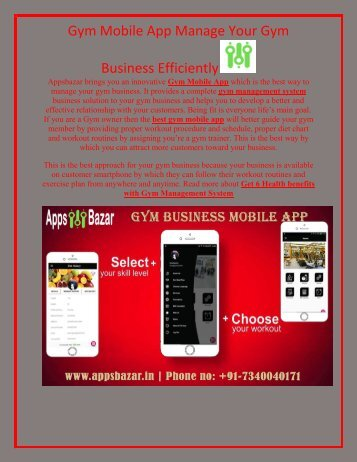 Gym Mobile App Manage Your Gym Business Efficiently
