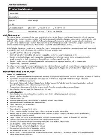 Production Manager Job Description Fields Related To Print