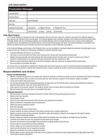 Job Summary: Production Manager Job Description