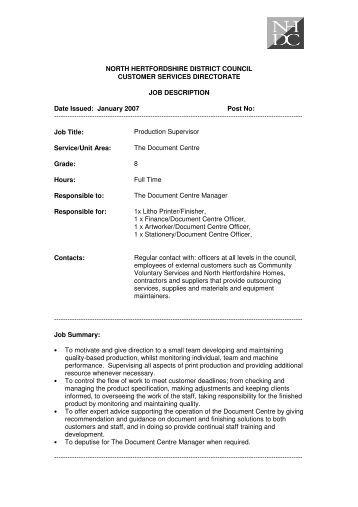 Production Manager Job Description  Communitypressgroup