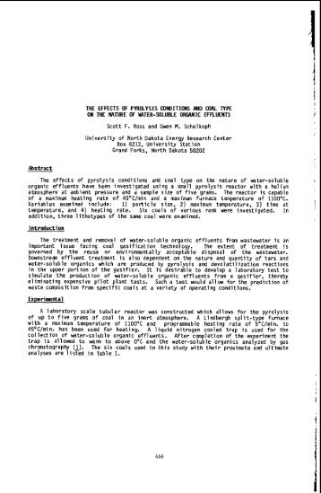 THE EFFECTS OF PYROLYSIS CONDITIONS AND COAL TYPE ON ...