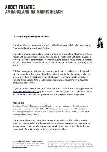 Graphic Designer Job Description - Abbey Theatre