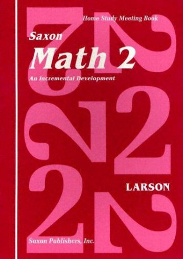 Read PDF Saxon Math 2 an Incremental Development Home Study Meeting Book -  Online - By Nancy Larson