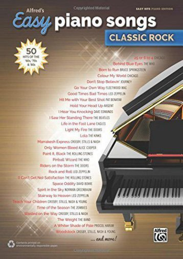[Free] Donwload Alfred s Easy Piano Songs -- Classic Rock: 50 Hits of the  60s,  70s    80s -  Populer ebook - By Alfred Publishing