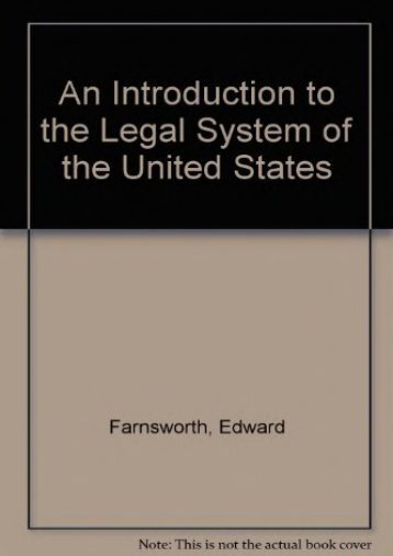 Unlimited Ebook An Introduction to the Legal System of the United States -  Best book - By Edward Farnsworth