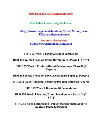UOP BRM 353 All Assignments NEW