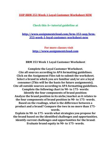 UOP BRM 353 Week 1 Loyal Customer Worksheet NEW