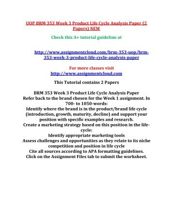 UOP BRM 353 Week 3 Product Life Cycle Analysis Paper