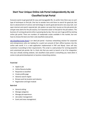 pdf of pressrelease on job classified script portal