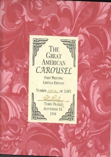 The Great American Carousel: A Century of Master Craftsmanship (Tobin Fraley)