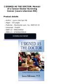I SIGNED AS THE DOCTOR: Memoir of a Cancer Doctor Surviving Cancer (Laura Liberman MD) - Page 2