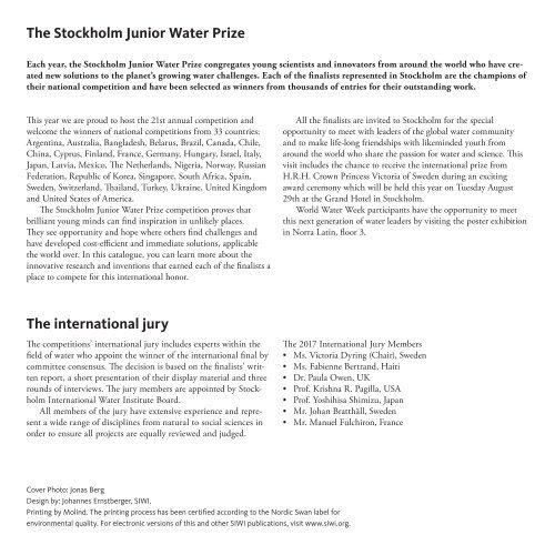 2017 Stockholm Junior Water Prize Finalists