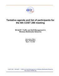 Tentative agenda and list of participants for the 6th COST 290 ...