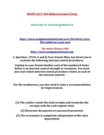 DEVRY ACCT 504 Midterm Exam