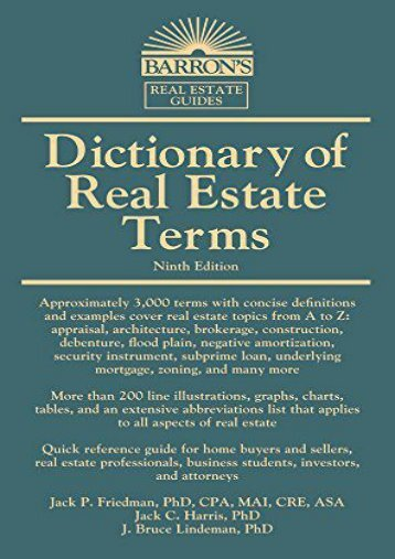 Dictionary of Real Estate Terms (Barron s Business Dictionaries) (Jack P. Friedman Ph.D)